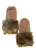 Dents Australia Heart Knit Mittens w Fur