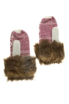 Heart Knit Mittens w Fur