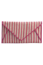 Hessian Stripe Piped Edge Envelope Clutch