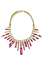 Adorne Rectangle Facet Jewel Fan Necklace