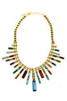 Rectangle Facet Jewel Fan Necklace