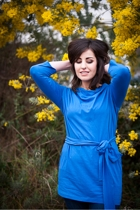 Audrey Blue Cowl Neck Top