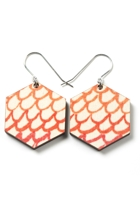 Wood Water Colour Scales Earrings