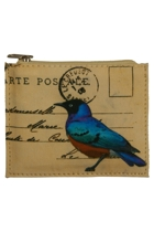 Small Postcard Bird Zip Purse