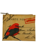 Large Post Card Bird Zip Purse