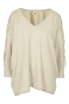 JAG Fringed V Neck Knit Jumper