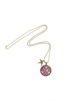 Rose In Graffiti Pendant W Swallow Charm
