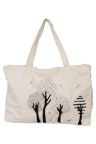 Eco Cotton Emb Tree Zip Up Tote