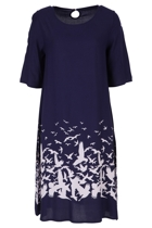 ROBBIE 3/4 Sleeve Shift Dress Place M Bird