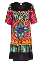 ROBBIE 3/4 Sleeve Shift Dress Splash Print