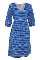 POLLY Waist Tie Dress Zig Zag Ikat