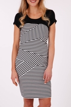 Ping Pong Short Slv Angled Stripe Dress