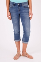 Mid Rise Rolled Up Crop Jean