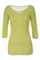 Mesh 3/4 Sleeve Scoop Neck Top