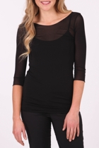 Vigorella Mesh 3/4 Sleeve Scoop Neck Top