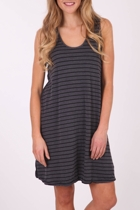 Vigorella Cotton Mixed Stripe Dress W Ties