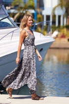 Sarah Printed Tie Waist Maxi Dress