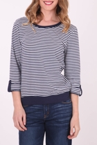 Striped Cotton Cuffed Tee