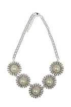 Adorne Pearl Centre Diamond Flower Necklace