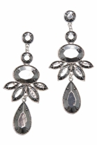 Facet Metal Leaf Drop Earrings