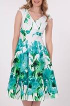 RetroSpec'd Empire Aqua Poppy Dress