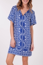 Border Print Kaftan Dress