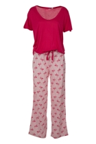 Flamingo Heart Top & Long Pant PJ Set
