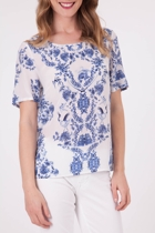 China Print Silk S/S Top