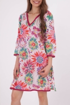 Floral Print W Hot Pink Thread Kaftan