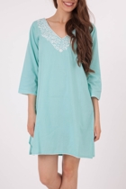 Long White Emb Sky Kaftan