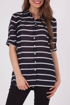 Yarra Trail Stripe 3/4 Slv Shirt