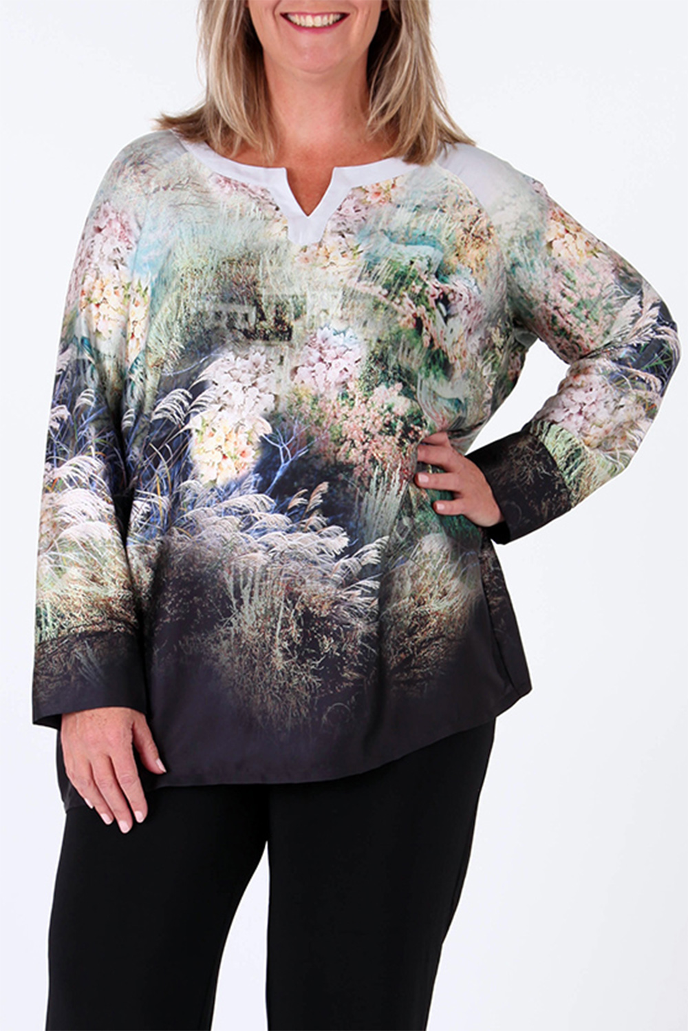 Free Woman V Front Print Top
