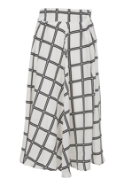 Checked Print Long Skirt