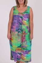 Print Dress With Pintucks