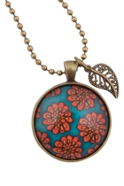 Daisies On Blue Pendant