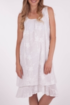 Cotton Emb Mesh & Voile Dress