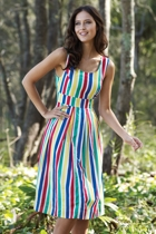LORI Fit & Flare Dress Bold Stripe