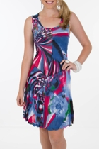 Threadz Fuscia Vortex Mesh Dress
