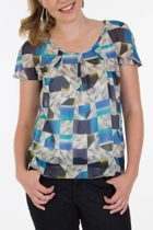 Scoop Neck Printed Blouse