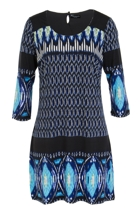 Diamond L/S Shift Dress