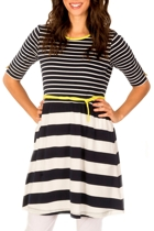 Clarity By Threadz Polly Stripe 3/4 Slv Dress