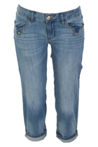 Denim Capri Roll Up Pant