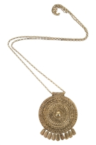 Adorne Indian Disk & Charms Pendant Necklace