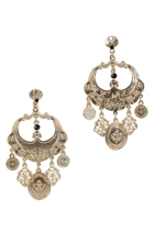 Swirl Metal Charm Chandelier Earrings