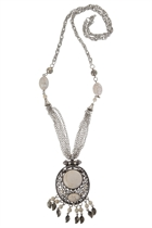 Oval Stone & Filigree Leaf Charms Necklace