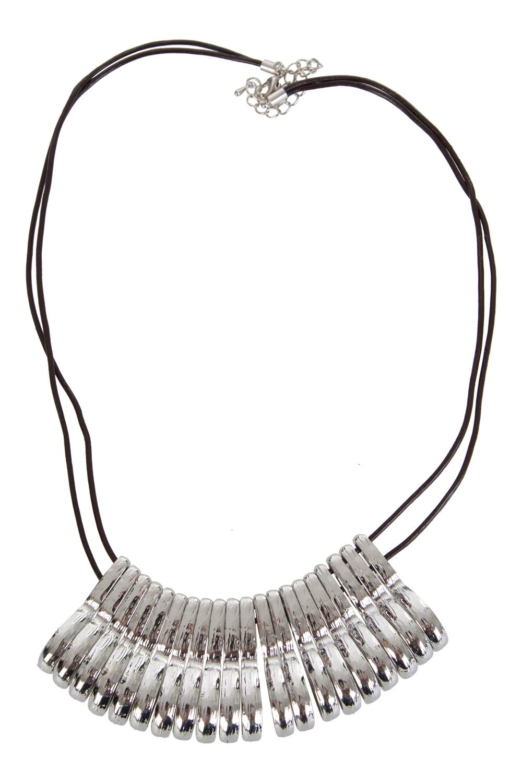 Adorne Curved Metal Fan Panels Necklace