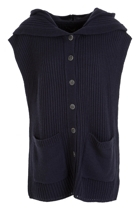 Button Thru Hooded Knitted Vest