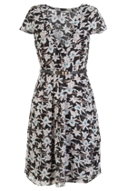 Orchid Print Dress W Belt