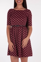 Yumi Dot To Dot Dress W Belt
