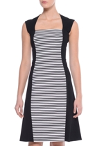 Olivia cap sleeve dress hero  black white stripe  small2